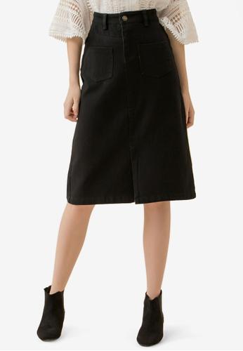 Eyescream black Pocketed Front Slit Midi Skirt BBC7BAA67B0C08GS_1