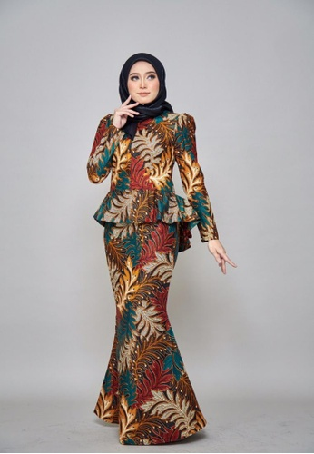 CHYARA 3.0 - Batik Peplum Wardah for Lady from ROSSA COLLECTIONS in White and Orange and Navy