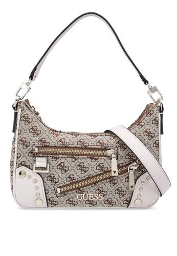 GUESS brown Frankie Top Zip Shoulder Bag 06841AC0058574GS_1