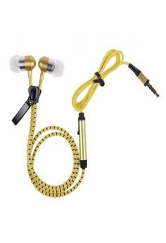 Tangle Free Zipper Type Headset with Mic - Yellow