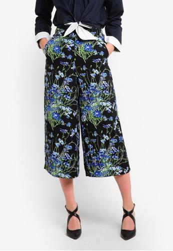 WAREHOUSE black and multi Full Bloom Culottes WA653AA93GOOMY_1