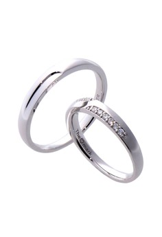 Simple Silver Couple Ring with Artificial Diamonds lr0044