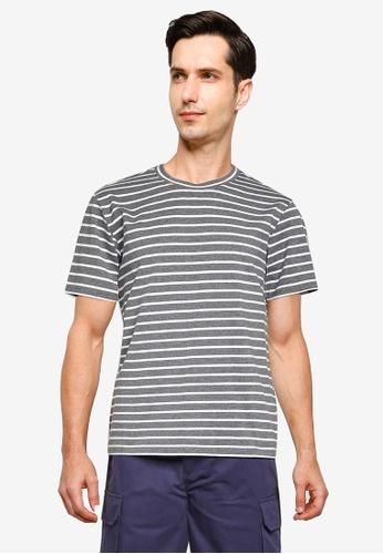 ZALORA BASICS grey Stripe T-Shirt D2ED7AA8E4D188GS_1