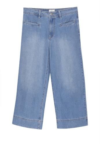 Cotton On blue Mid Rise Wide Leg Crop Jeans 69DD0AAF1174E4GS_1