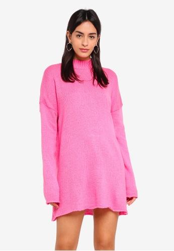 MISSGUIDED pink High Neck Slouchy Jumper Dress FDB89AAEE944A2GS_1