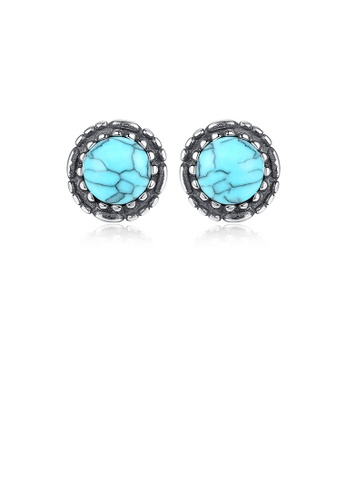 Glamorousky green 925 Sterling Silver Simple Fashion Geometric Round Turquoise Stud Earrings 38F43AC507E570GS_1