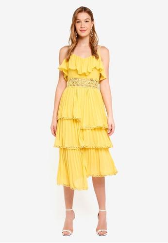True Decadence yellow Frill Ruffle Dress 321AEAA71DAB0AGS_1