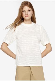 1b0e46a928e ESPRIT white Woven Short Sleeve Blouse D5AEBAAE775F6EGS 1