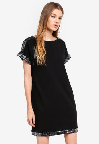 Dorothy Perkins black Embellished Shoulder Shift Dress B9D8EAACA417AAGS_1