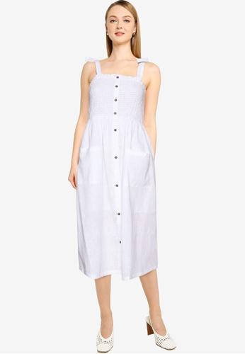 Brave Soul white Shirred Bust Button Through Dress 97A25AA19ECA62GS_1