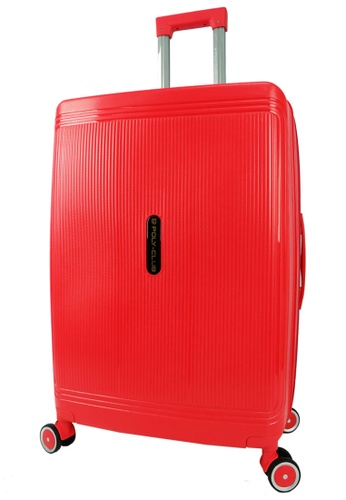 Poly-Club red Poly-Club 24inch Unbreakable PP Hard Case Trolley Travel Luggage with Anti-theft Zipper- BA9924 Red E0F69ACC81485BGS_1