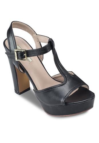 T 字帶繞踝粗跟鞋, 女鞋,esprit 高雄 鞋