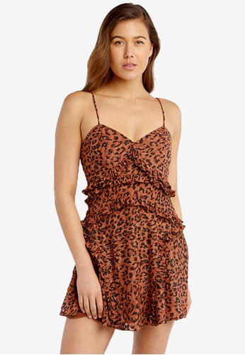 Bardot brown Leopard Frill Dress 4B09BAAA60B08FGS_1