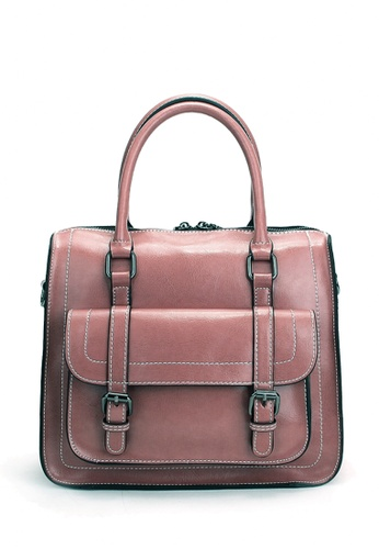 Twenty Eight Shoes pink VANSA Two-tone Burnished leather Satchel Bag VBW-Hb076 E4D9AACE2B7C55GS_1