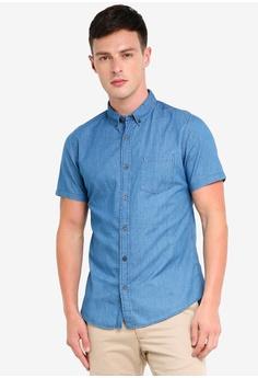 c339f0d9f0 Burton Menswear London blue Mid Wash Short Sleeve Denim Shirt  84D77AAE4726A3GS 1