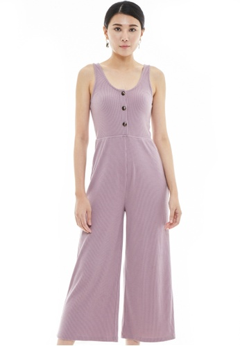 Nichii pink Sleeveless Buttoned Basic Jumpsuit 1B821AA09B5C59GS_1