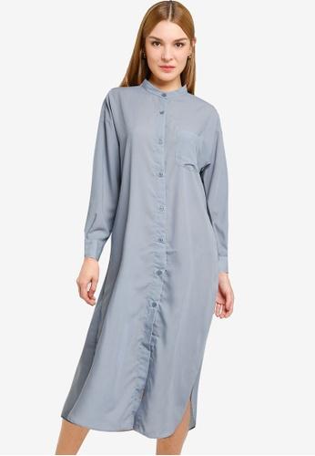 LOWRYS FARM blue Midi Shirt Dress BA5B8AAE47635AGS_1