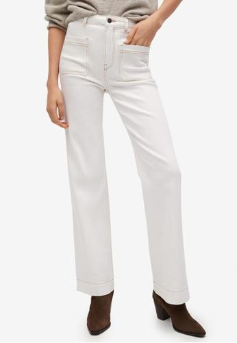 Mango beige Decorative Seam Wide Leg Jeans 87419AA9D47847GS_1