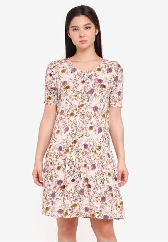 ICHI beige Dizo Dress 468C5AA3AFB75EGS_1
