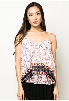 Abril U-Floral Chiffon Layer Top