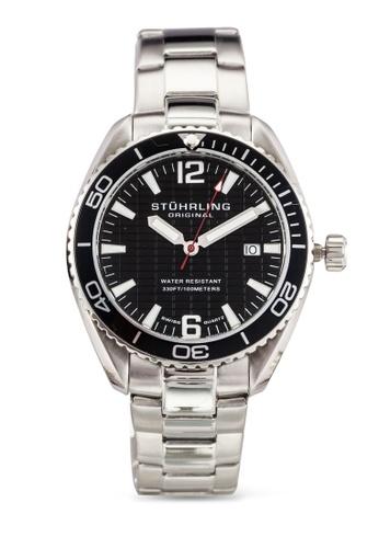 Stuhrling Original silver Stainless Steel Link Bracelet Black Dial Watch ST251AC0RFIVMY_1