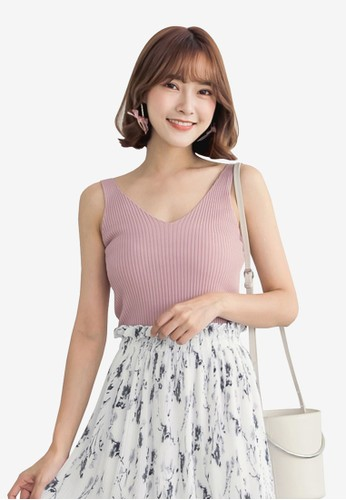 Tokichoi pink Ribbed Knit Tank Top F83F6AAB0D863DGS_1