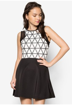 Mesh Insert Printed Fit And Flare Dress
