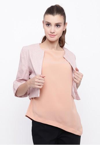 Blanik pink Zania Half Sleeve Blazer 9B66EAA1A02E56GS_1