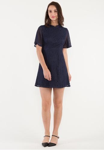 BEBEBEIGE blue BebeBeige A-Line High Neck Short Sleeve Short Evening Dinner Dress 46C69AA617B3BEGS_1
