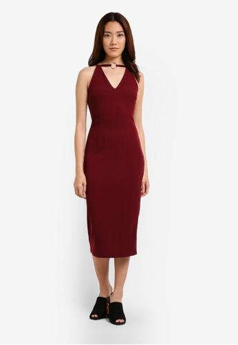 Something Borrowed red Cut In Neckline Ring Midi Dress 85936AA028E2CDGS_1
