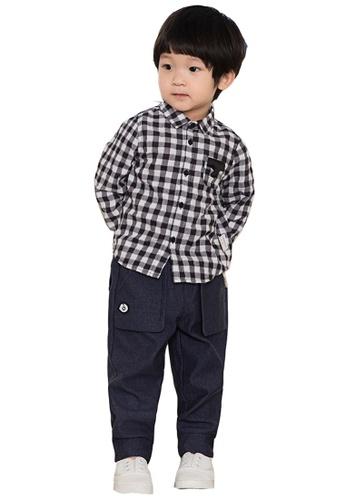 M.Latin black Checkered Long Sleeve Button Shirt C2DDDKADCDE9F2GS_1