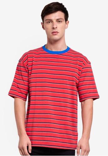 UniqTee 紅色 條紋T恤 8CDAAAAE5DC5D7GS_1