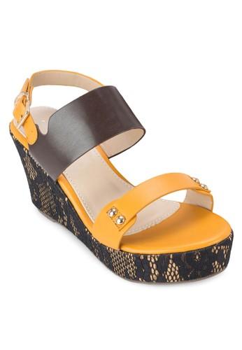 蛇紋厚底楔形鞋, esprit分店女鞋, 楔形涼鞋
