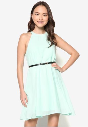 繞脖腰帶褶飾連zalora taiwan 時尚購物網身裙, 服飾, 短洋裝