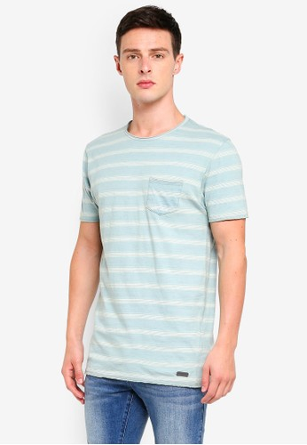 Brave Soul green and blue Striped Crew Neck T-Shirt DB1D2AA14599C7GS_1