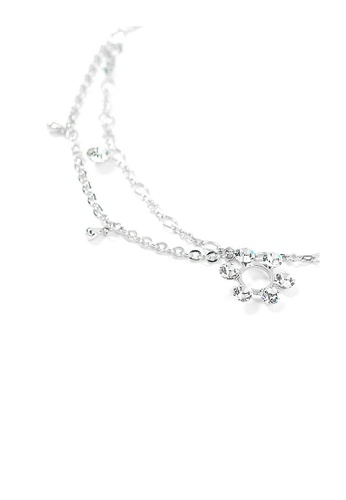 Glamorousky silver Flower Anklet with Silver Austrian Element Crystals F24E6ACFE6E3E1GS_1