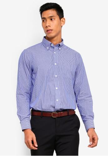 OVS blue Regular-Fit Formal Striped Shirt 4D25CAACB30413GS_1