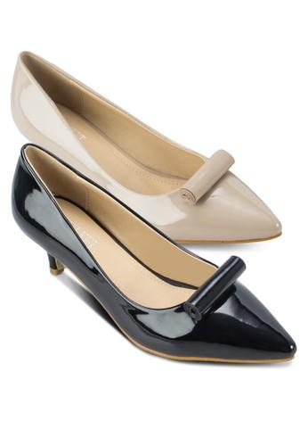 二入Thea 捲軸漆esprit門市面高跟鞋, 女鞋, 厚底高跟鞋