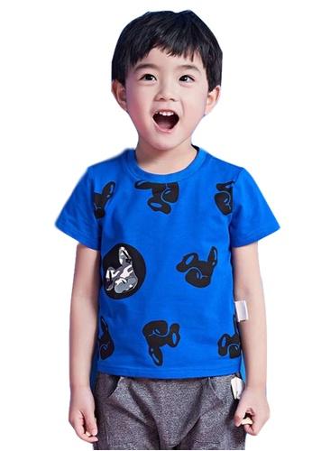 M.Latin blue Short Sleeve T-Shirt with Dog Prints FD267KADF40681GS_1