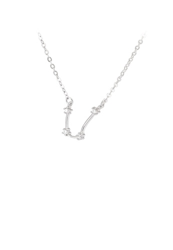 Glamorousky white 925 Sterling Silver Simple Fashion Twelve Constellation Aquarius Pendant with Cubic Zirconia and Necklace D77C3AC22BF6AFGS_1