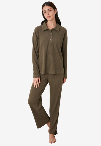 Trendyol green Collar Ribbed Pajamas Set BC1F0AA79A82B1GS_1