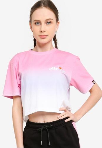 ellesse pink Rerta Fade Crop T-shirt 59F01AA18C05CDGS_1