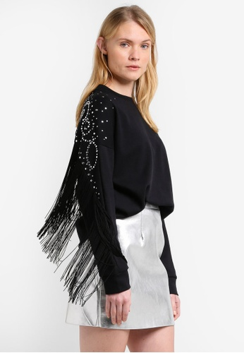 Mango black Studded Fringed Sweater MA193AA0RMJ4MY_1