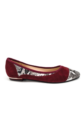 Toufie red Coluber Ballerina Flats Snake & Leather - Red E5207SHFC1B60DGS_1