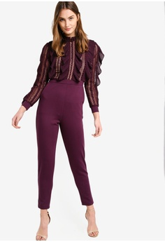 f754d591ec6 40% OFF French Connection Patricia Lace Jersey Jumpsuit RM 859.00 NOW RM  515.00 Sizes 10