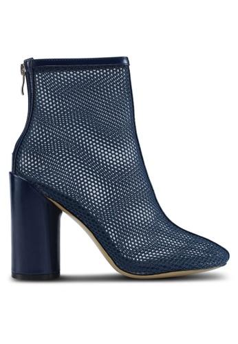 Public Desire navy Under Patent Heel Mesh Ankle Boots C6A3CSH80CFDB5GS_1
