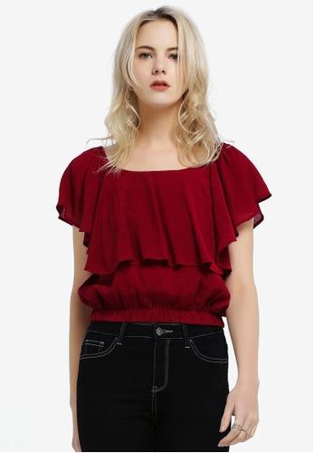 d162fc0b5938 Shop Hopeshow Loose Fit Off Shoulder Blouse Online on ZALORA Philippines