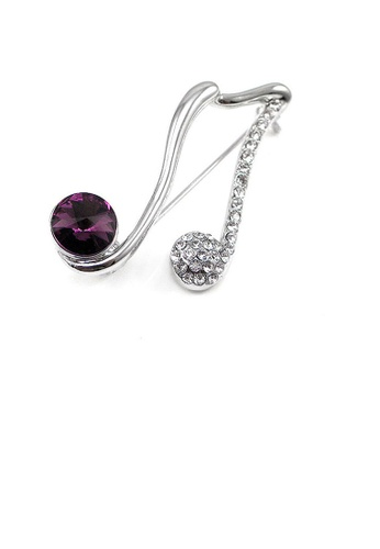 Glamorousky silver Elegant Musical Sign Brooch with Silver and Purple Austrian Element Crystal 05783AC4D5D4C3GS_1