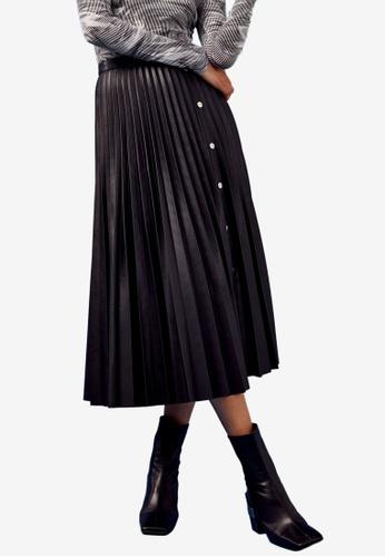 TOPSHOP black Black PU Pleated Midi Skirt 8421DAA3A05636GS_1
