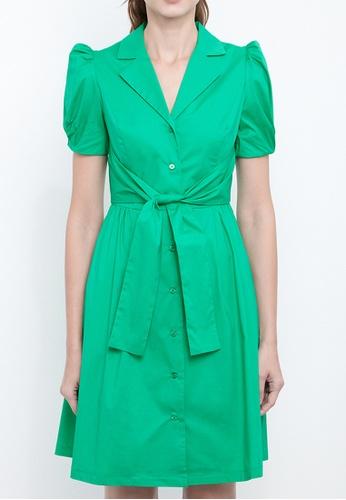 Dkny green DKNY Women Cotton Tie Front Shirt Dress 26014AA72896BBGS_1